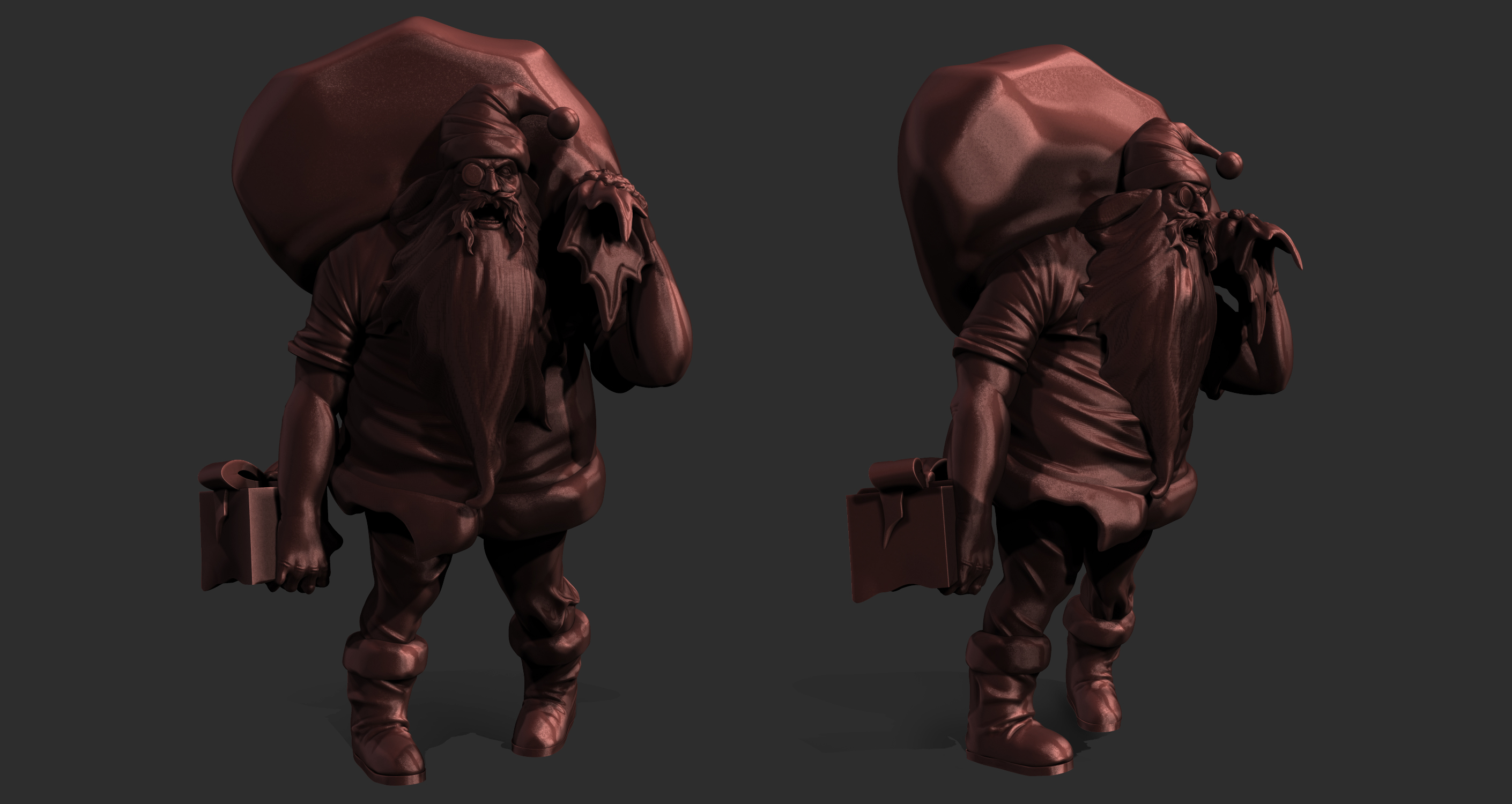 Undead Zombie Santa 3D Model WIP for limited edition figure in red