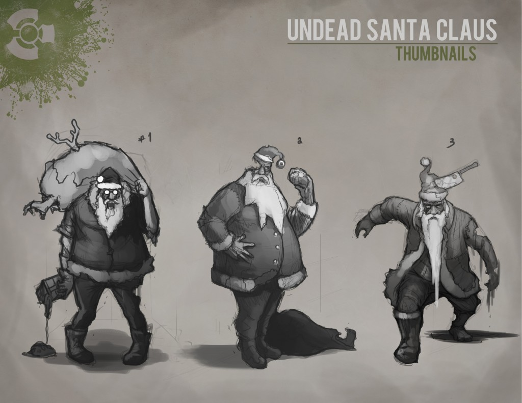Evil Undead Zombie Santa Concept Art for Box-O-Zombies Game NFC Figure