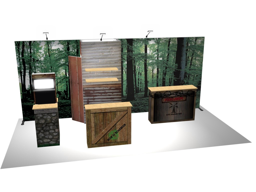 Box O Zombies Trade Show Booth Mockup Duo Display Rendering