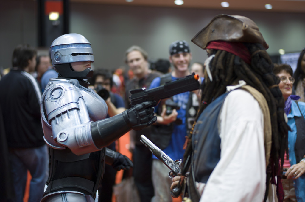 robocop cosplay faces jack sparrow cosplay at c2e2 2013 box o zombies booth