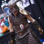 Skyrim mask cosplay at c2d2 in from of box o zombies booth