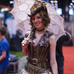 steampunk era with umbrella, woman cosplay at c2e2