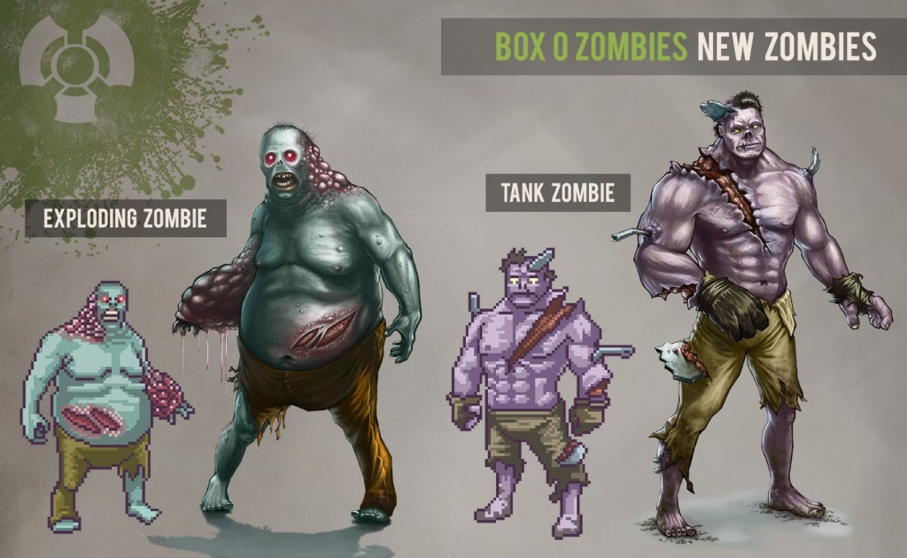 New Zombies pixel art and concept art boz box o zombies