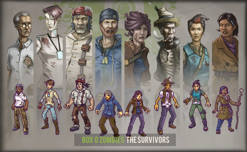 Survivors pixel and concept art for boz box o zombies