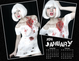 Box O Zombies 2014 Pinup Calendar - Miss January - Mei Ling Jin